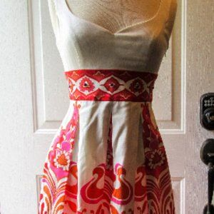Maggy London s 2 ivory/reds fit and flare dress